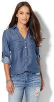 New York & Co. Soho Soft Shirt - Ultra-Soft Chambray - Indigo Blue Wash