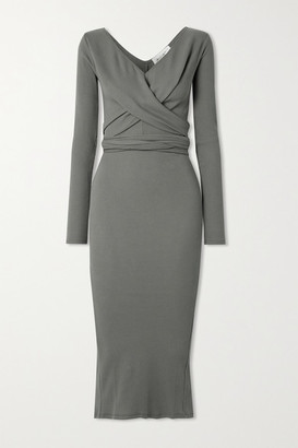 The Line By K Saloma Ii Wrap-effect Ribbed Stretch-cotton Jersey Midi Dress - Gray