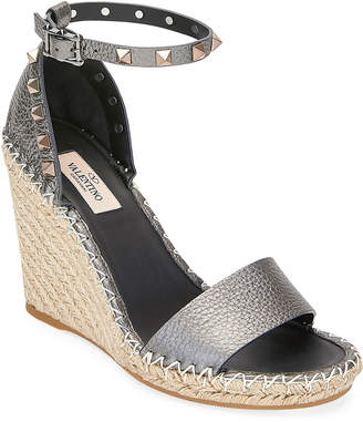 Valentino Garavani Rockstud Metallic Leather Wedge Sandals