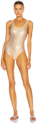 Oseree Metallic Sporty Maillot in Nude | FWRD