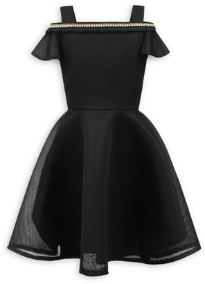 David Charles Girl's Cold-Shoulder Dress