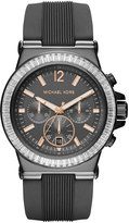 MICHAEL Michael Kors Large Stainless Steel Chronograph Watch w/ Silicone Strap, Gunmetal