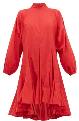 Rhode Resort Adeline Flounced-hem Cotton-voile Dress - Womens - Red