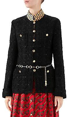 Gucci Women's Button & Belted Tweed Jacket