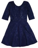Aqua Girls' Flared Rose Jacquard Knit Dress - Sizes S-XL