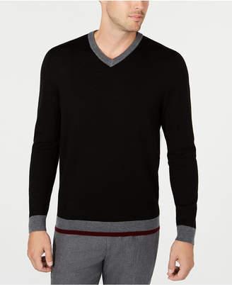 Tasso Elba Men Merino Wool Blend V-Neck Solid Sweater