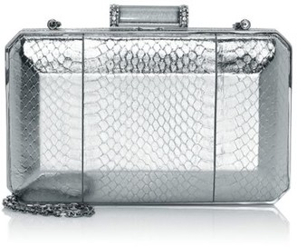 Judith Leiber Couture Soho Metallic Snakeskin-Embossed Leather Clutch