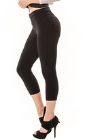 Me Moi Black French Terry Capri Leggings