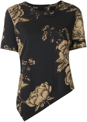 OSKLEN floral-print asymmetric T-shirt