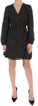 Ganni Polka-Dot Wrap Mini Dress