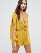 Love Cowl Front Long Sleeve Romper
