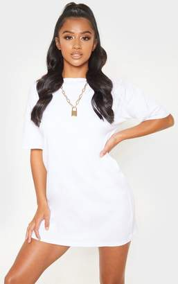 PrettyLittleThing Petite White Oversized T Shirt Dress