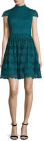 Alice + Olivia Maureen Lace Open-Back Party Dress, Turquoise