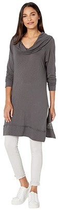LAmade Italia Cowl Neck or Off-the-Shoulder Slub Jersey Tunic (Raven) Women's Clothing