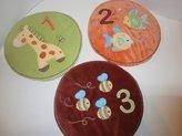 3 Pc Tiddliwinks Whimsical Velour Wall Art 1 2 3 Fish Giraffe Bees
