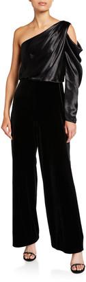 Aidan Mattox Draped Asymmetrical Velvet Jumpsuit