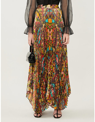 Alice + Olivia Katz floral-pattern silk-blend crepe maxi skirt