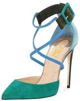 FSJ Women Straps Chunky Heels Pumps Pointed Toe Stilettos Ankle Buckle Shoes Size 5