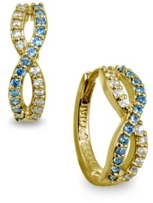 Giani Bernini White and Blue Cubic Zirconia Infinity Huggie Hoop Earrings in 18k Gold Over Sterling Silver