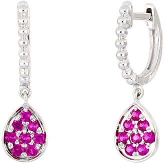 Bony Levy 18K White Gold Pave Ruby Drop Earrings