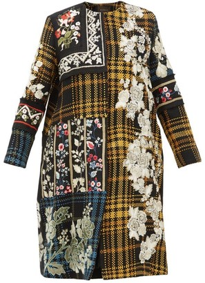 Biyan Holia Floral-embroidered Cotton Coat - Womens - Multi