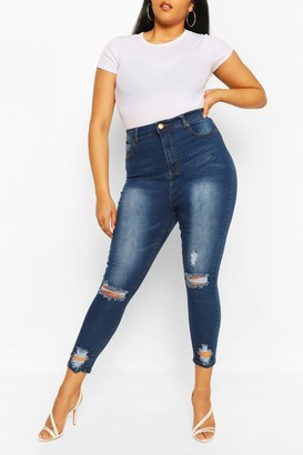boohoo Plus Distressed Skinny Jean