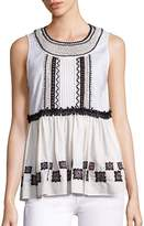 Suno Women's Embroidered Cotton Leaf Sleeveless Top