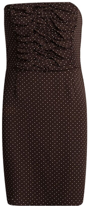 Christian Dior Brown Polka Dot Print Silk Ruched Panel Detail Strapless Dress S