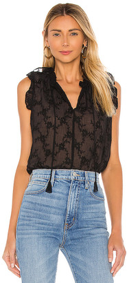 Rebecca Taylor Sleeveless Vine Embroidery Top