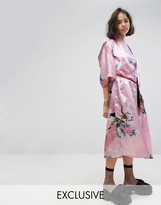 Reclaimed Vintage Inspired Kimono In Printed Satin With Rope Belt