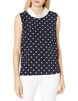 Tommy Hilfiger Women's Polka Dot Print Collared Sleeveless Blouse