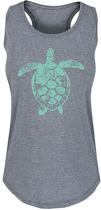 Instant Message Women's Women's Tank Tops HEATHER - Heather Gray Sea Turtle Illustration Racerback Tank - Women
