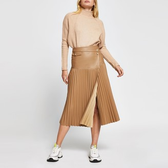 River Island Womens Beige faux leather pleated midi skirt