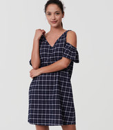 LOFT Plaid Cold Shoulder Swing Dress