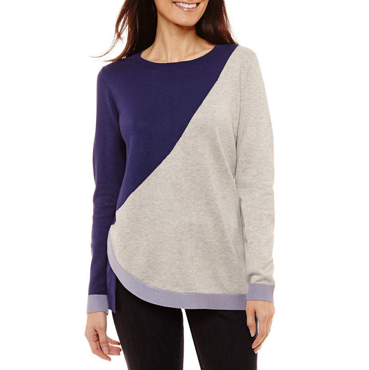 Liz Claiborne Long Sleeve Crew Neck Abstract Pullover Sweater-Petite