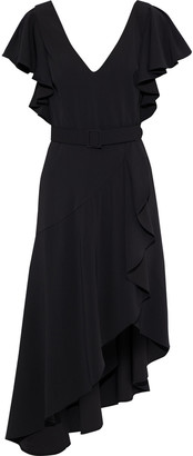 Badgley Mischka Asymmetric Belted Ruffled Cady Dress