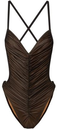 Norma Kamali Butterfly Mio Open-back Ruched Stretch-mesh Swimsuit
