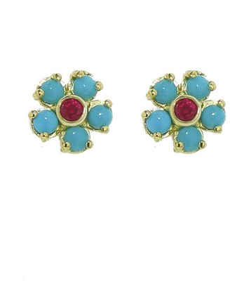 Jennifer Meyer Turquoise and Ruby Flower Earrings - Yellow Gold