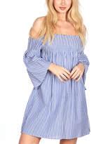 Go Coco GO COCO Women's Casual Dresses BLUE - Blue Stripe Bell-Sleeve Off-Shoulder Dress - Juniors