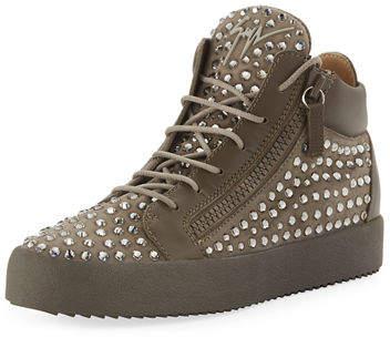 Giuseppe Zanotti Men's Swarovski Crystal Studded Suede Mid-Top Sneakers