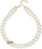 Charter Club Gold-Tone Imitation Pearl and Cubic Zirconia Double Strand Necklace, Only at Macy's