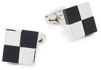 Saks Fifth Avenue Silvertone Black Onyx Cufflinks