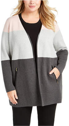 Charter Club Plus Size Milano Color Blocked Cardigan