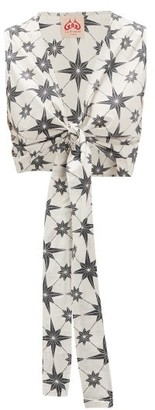Le Sirenuse Le Sirenuse, Positano - Sonia Geometric-print Tie-front Cotton Top - Womens - Green Print