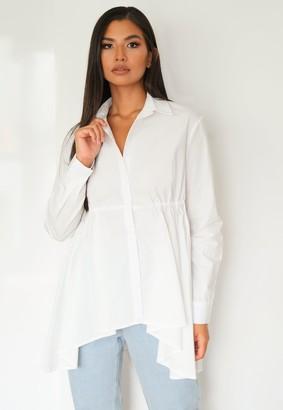 Missguided White Oversized Waterfall Poplin Shirt