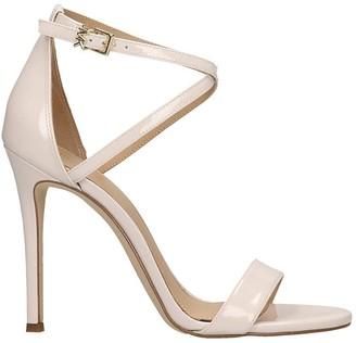Michael Kors Antonia Sandals In Beige Patent Leather