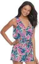 Juniors' Lily Rose Tropical Print Romper