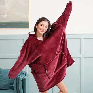 Oldpapa Warm Sherpa Blanket Sweatshirt Hoodie for Women MenSuper Soft Warm Cozy Giant Hoody Large Front Pocket One Size for All
