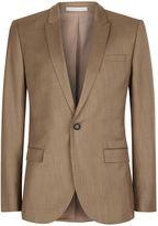 Light Brown Crosshatch Skinny Fit Suit Jacket