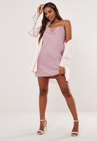 Missguided Pink Satin Cowl Cami Mini Dress